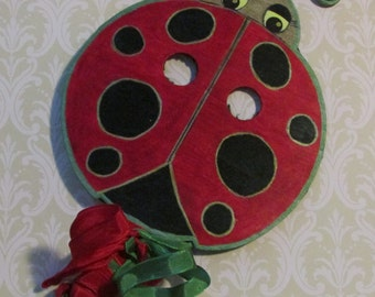 Lady Bug wall ornament,mask or garden marker,Phi Mu mascot
