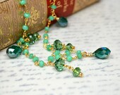 Delicate crystal drop necklace Green chrysoprase necklace Boho gypsy gemstone chain necklace Summer fashion Tudor Renaissance jewelry