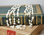 Extra long pearl rope necklace Great Gatsby flapper era style Hand knotted pearl multi layered convertible necklace  Downton Abbey jewelry