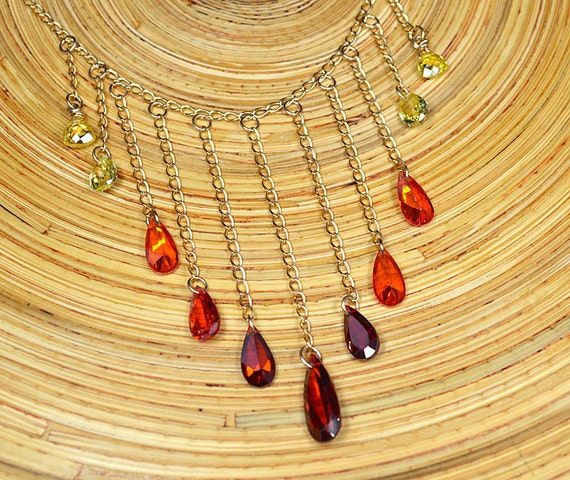 FREE SHIPPING Sparkling ombre cubic zirconia bib necklace Yellow orange red crystal drop necklace Gold chain necklace Office jewelry