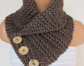 Brown  Hand Knitted Cowl Scarf With Wooden Buttons-Neck Warmer Winter Accessories,Fall Fashion.Holiday Accossories,Chunky Scarf
