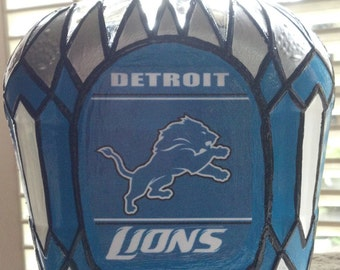 Detroit Lions Football Crown Royal bottle Hand Painted upcycled glass OOAK