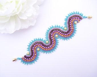 Dancing Dragon Bracelet (Large) - Purple Turquoise Gold