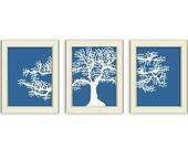 Oak Tree Silhouette- 3 Piece Art Printable Set. Tree art set. Nature art. Gift for teacher, family, grandparents, etc. Home Decor.