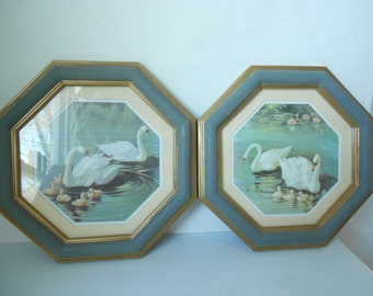 Set of octagon  shabby chic gold and grey framed  Homco pictures swans on a lake