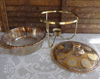 Fire King Gold Fleck Casserole on Warming Chafing Stand George Briard Elegant Serving Dish Wedding Table Kitchenware 22 kt Gold
