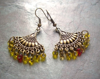 "Antique Brass Earrings / One-of-a-Kind / Drop / Dangle / Glass / Seed Beads / Gold / Red / Fan / Charm - 1 5/8"" long - E13"