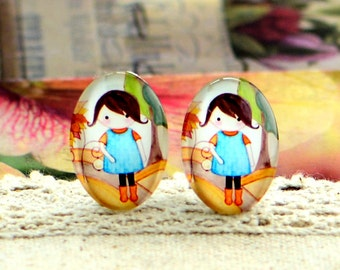 8pcs (10x14mm\13x18mm) 4pcs (18x25mm) 2pcs (20x30mm\30x40mm) Handmade Photo Glass Cabs Cabochons--Cartoon Doll