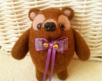 Brown bear with bow needle felted