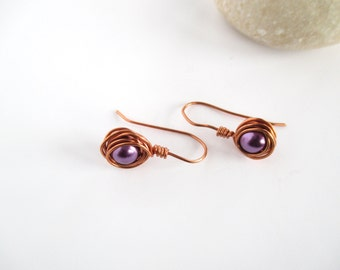 Wire Wrapped Pearl Earrings, Purple Pearl Earrings, Purple Drop Earrings, Wire Wrapped Pearl, Earrings for Her, Wire Wrapped Copper