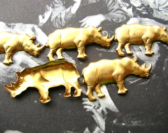 Rhino Stampings - Rhinoceros Charm Lot - Raw Brass - Brass Findings - Brass Stampings - Animal Findings