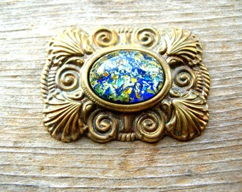 Brass Jewelry Part  - Victorian Style Brass - Glass Foiled Stone