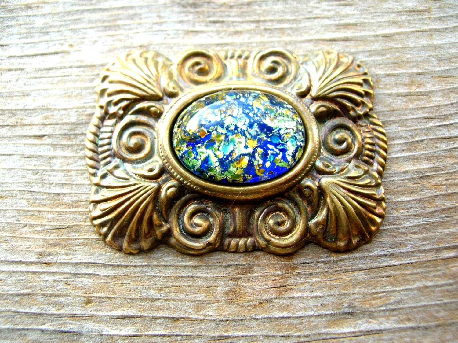 Brass jewelry part victorian style brass glass foiled for Just my style personalized jewelry studio