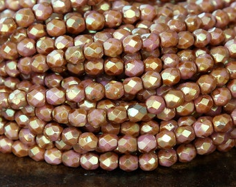 Opaque Rose Gold Topaz Luster Czech Glass Beads, 4mm Faceted Round - 100 pcs - eP65491-4