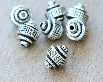 5 pcs Antique Silver TierraCast Beads, 10mm Abstract Ethnic Barrel - eTBE529-AS
