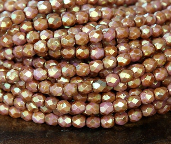 opaque rose gold topaz luster czech glass beads 4mm faceted. Black Bedroom Furniture Sets. Home Design Ideas