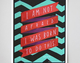 "Inspirational Quote Joan Of Arc ""Born to Do This"" - 11x14 Motivational Poster Hand-Lettered Typography by Emily McDowell"