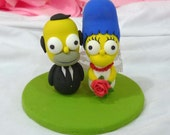 The Simpson couple wedding cake topper clay doll, engagement clay miniature decoration, ring holder clay figurine, clay couple wedding gift