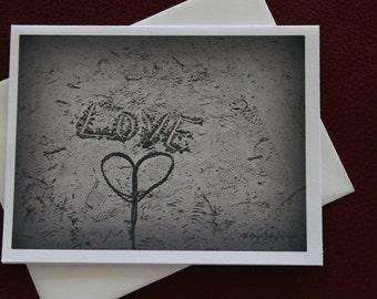Sand Art Photo Card / Beach Art Card / Love Card / Free US Shipping / MVMayoPhotography