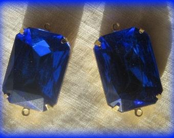 Sapphire Blue Octagon Rhinestone 30MM Connector 2R Brass Setting