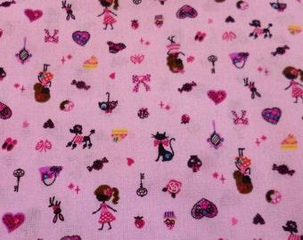 Kawaii Sweet Girl  Cotton Fabric 1 yard, Fabric By The Yard, Pink Cotton Fabric, Kawaii Fabric