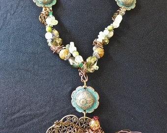 DRAGONFLY TWISTED POWER Necklace  Victorian Filigree Boho  Tibetan Beads    Aquamarine  Amethyst  Rose  Quartz  Jasper  Citrine, Emerald