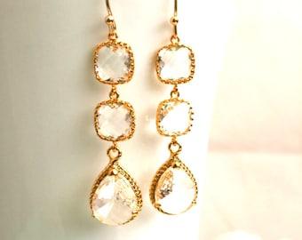 Clear Crystal Gold Earrings, Wedding Jewelry, Bridal Earrings, Bridesmaid Gift, Dangle Earrings, Drop Earrings, Statement, Christmas Gift
