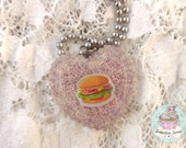 Burger necklace heart shaped resin pendant
