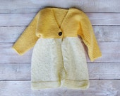 Baby Girl Clothes - Toddler Girl Sweater - Hand Knitted Yellow Cardigan Jacket - Size 2T Childrens Clothing