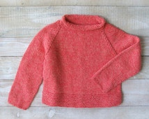 Baby Girl Sweater - Hand Knitted Pink Cotton Rollneck Pullover Size 4T to 5T Childrens Clothes