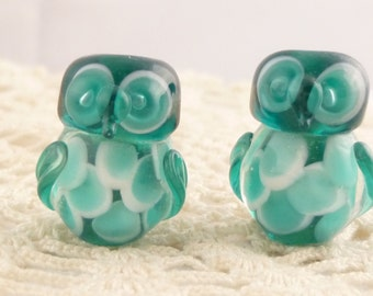 Adorable, Feathered Translucent Teal Blue Lampwork Owl Beads (2)