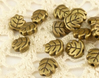 3D Maple Oak Leaf Spacer Beads, Antique Bronze (20) - BF25