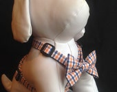 Dog Harness -Orange/Blue/White Plaid - Available With Or Without Bow Tie - size xs, s, m