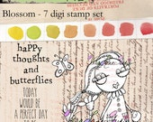 Blossom: Quirky and whimsical butterfly girl digi stamp set with quotes in png and jpg files
