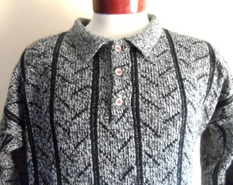 vintage 80's Club International marled black and white heather acrylic knit collared sweater pullover jumper diagonal stripe new wave med