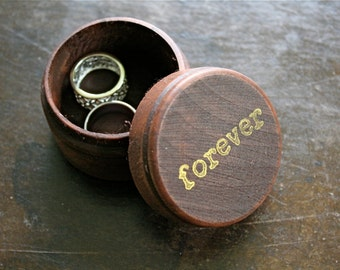 "Wedding ring box.  Rustic wooden ring box, ring bearer accessory, ring warming.  Small round ring box with ""foverver"" design in gold."