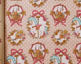 Cute Merry Go Round Horse Castle Print Japanese Fabric Pink - 110cm x 50cm