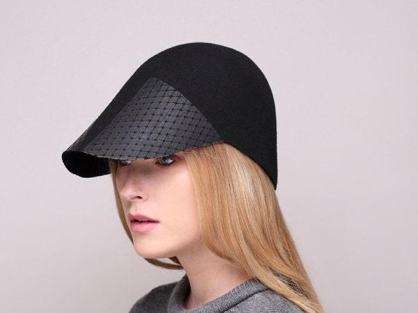 womens felt visor handmade hat womens hat winter hat
