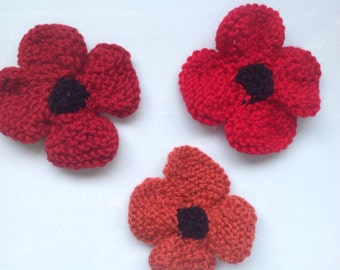 Hand knitted poppy flower