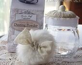 Bath POWDER JAR Set - Complete with dusting powder, powder puff, and powder sifter insert - Ivory  Elegance