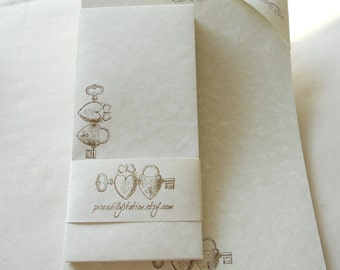 Large parchment paper stationery set, hand cut writing paper stamped with two hearts, lock and a key stamped in chocolate ink, set of 30.