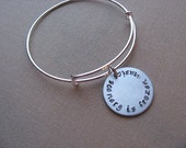 "SALE- Hand-Stamped Bangle Bracelet- ""scenery is frozen music""- ONLY 1 Available"