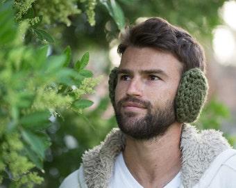 Crochet Earmuffs, men ear muffs, ear warmer, winter accessories, Gift for him, gift for men, boyfriend gift, mens gift, for hiker