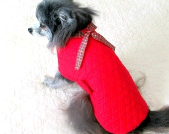 Reversible Coat for Small Dog Made to Order to Fit Toy or Teacup Size - Red Quilted on One Side, Red with Tiny Star Trint on Other