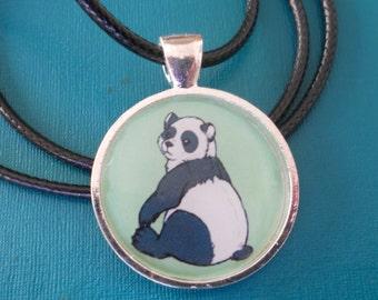 Panda bear pendant - animal jewelry - necklace charm