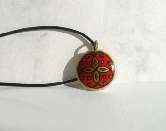 Woodland Art, Red Necklace Wooden Pendant Red Jewelry, Leather Cord Necklace, Hand Painted & Handmade, Artdora Design