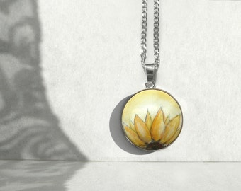 Half of Yellow Sunflower Sterling Silver Pendant Necklace, Hand Painted Sunflower, Art Sunflower Pendant, Holz & Silver Charm with Chain