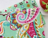 Spring Floral Cotton Fabric, Rosy yellow Paisley Flower Fabric On Spring Green A B- 1/2 yard