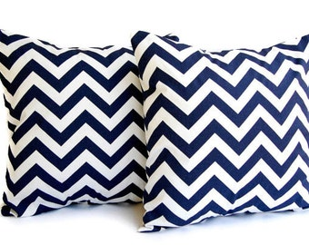 "Throw pillow covers set of two 16"" x 16"" Navy Chevron zig zag"