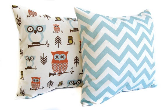 Items similar to Pillow Covers, Throw Pillows, Cushions, Rust, Natural, and Smokey Blue Chevron ...